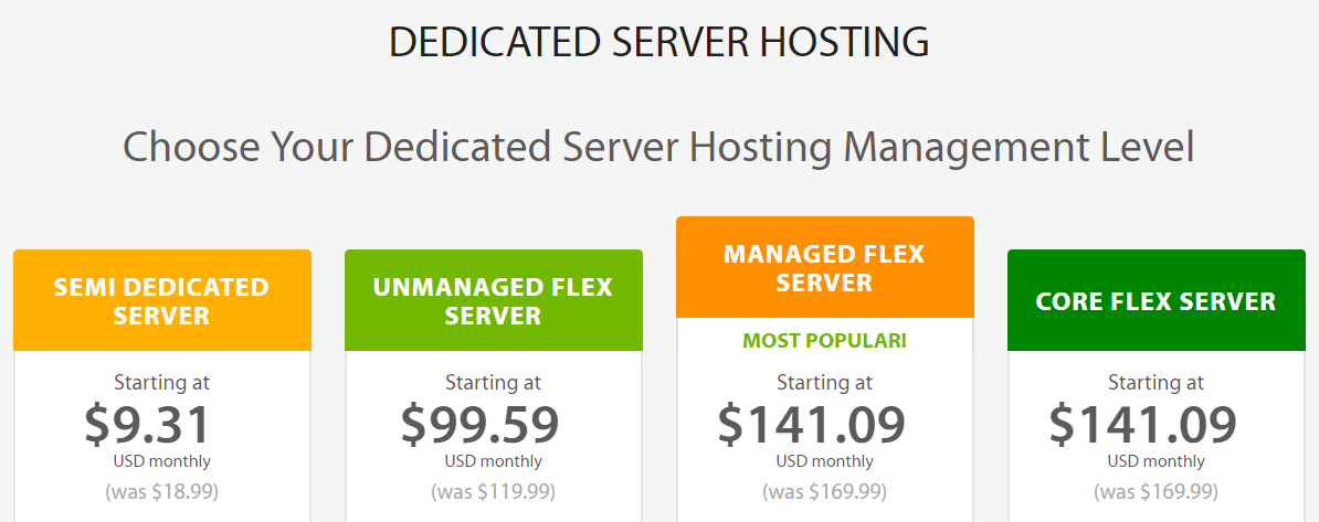 A2 Hosting's dedicated server plans.