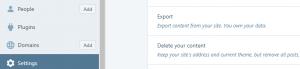 The WordPress.com Export option.