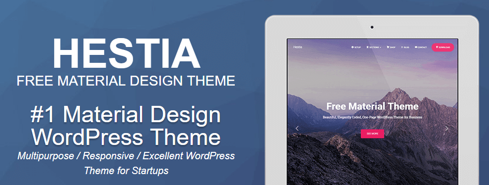 The Hestia WordPress theme.