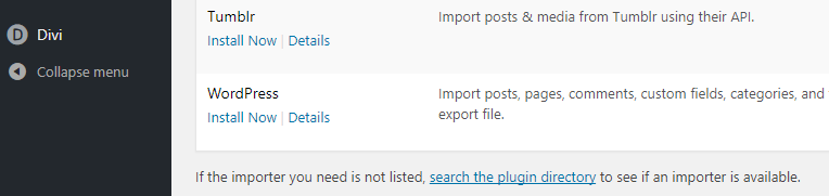 Installing the WordPress importer.