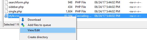 Opening a file with FileZilla.