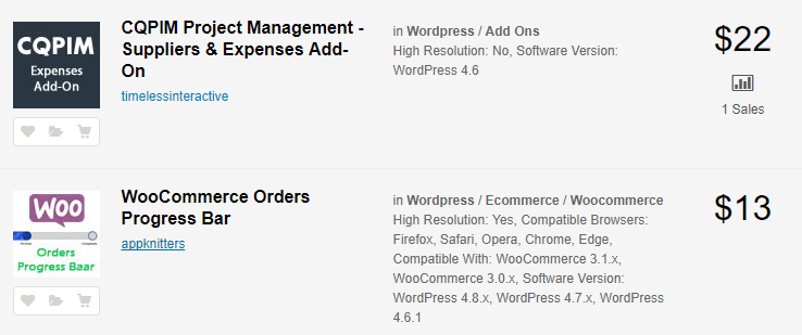 An example of multiple premium WordPress plugins.