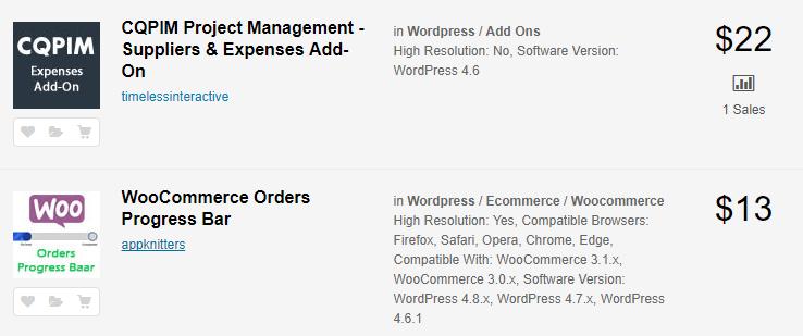An example of multiple premium WordPress plugins.