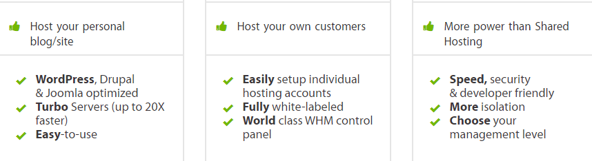 A description of multiple hosting plans.