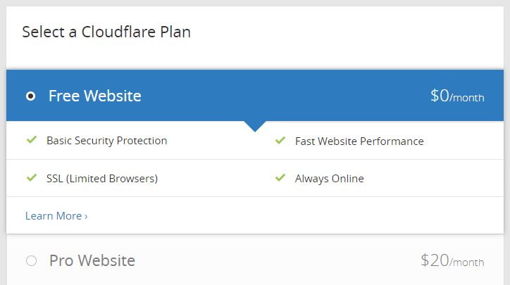 Cloudflare's pricing plans.