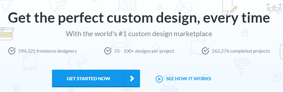 The DesignCrowd homepage.