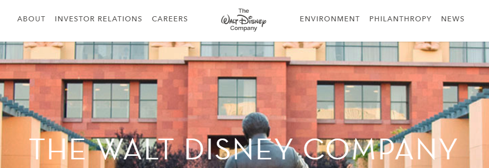 The Walt Disney Company homepage.