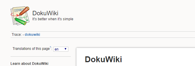 The DokuWiki homepage.