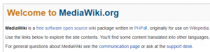 The MediaWiki homepage.