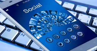 A smartphone displaying multiple social network icons.