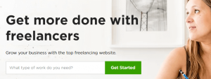 The Upwork homepage.