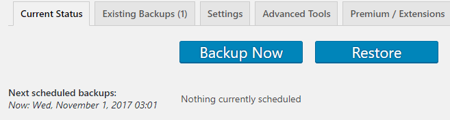 Creating a WordPress backups.