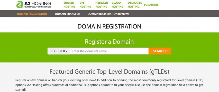 A2 Hosting Domain Registration