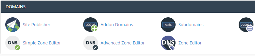 An example of a cPanel's domain section.