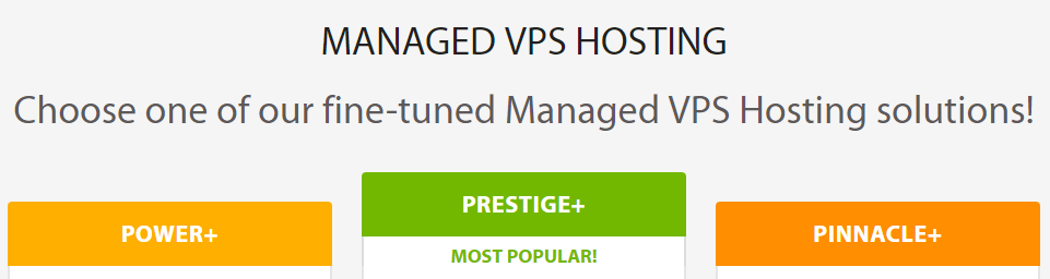 An example of several managed VPS plans.