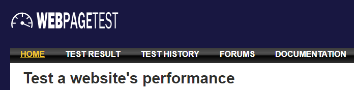 The WebPagetest homepage.