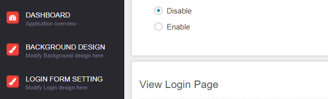 Your login page customizer dashboard.
