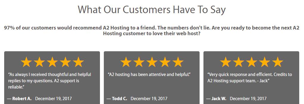 Several A2 Hosting client testimonials.