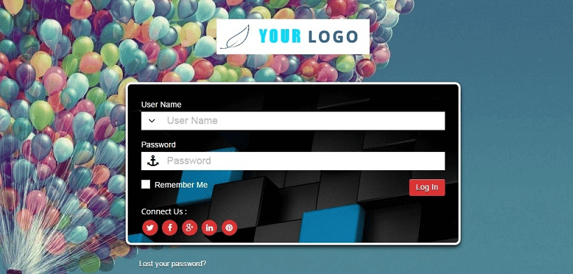 An example of a custom login screen.