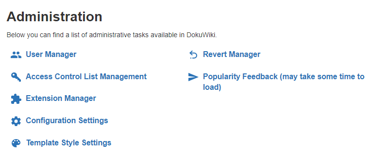 Your DokuWiki dashboard.