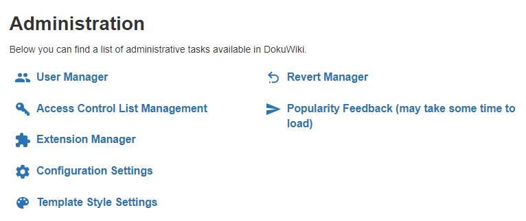 Your DokuWiki dashboard.