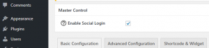 Enabling the social login feature.