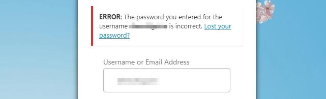 A WordPress login error message,