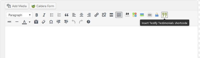 The Testify plugin's shortcode.
