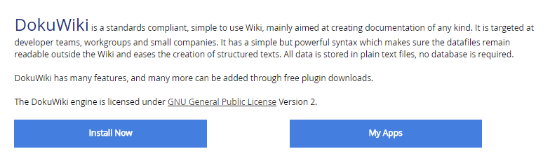 Installing DokuWiki.