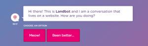 The Landbot homepage.