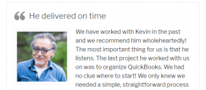 An example of a client testimonial.