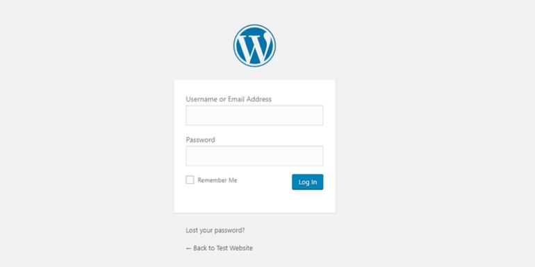 The default WordPress login page.