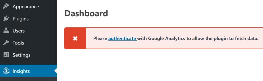 Authenticate your Google Analytics account.