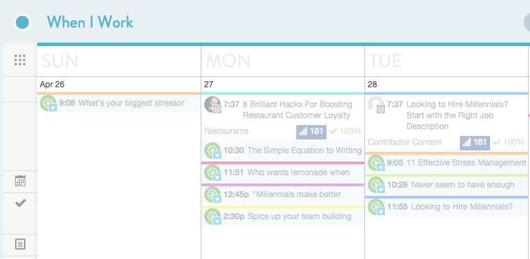 An example of a content schedule.