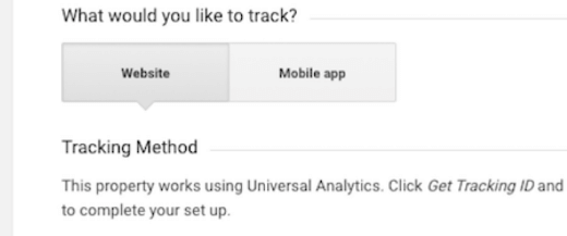 Creating a new Google Analytics account,