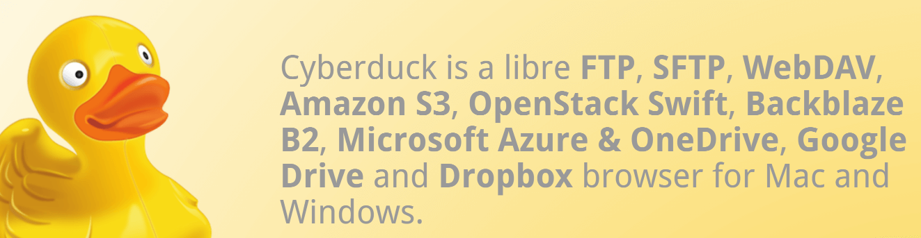 The Cyberduck homepage.