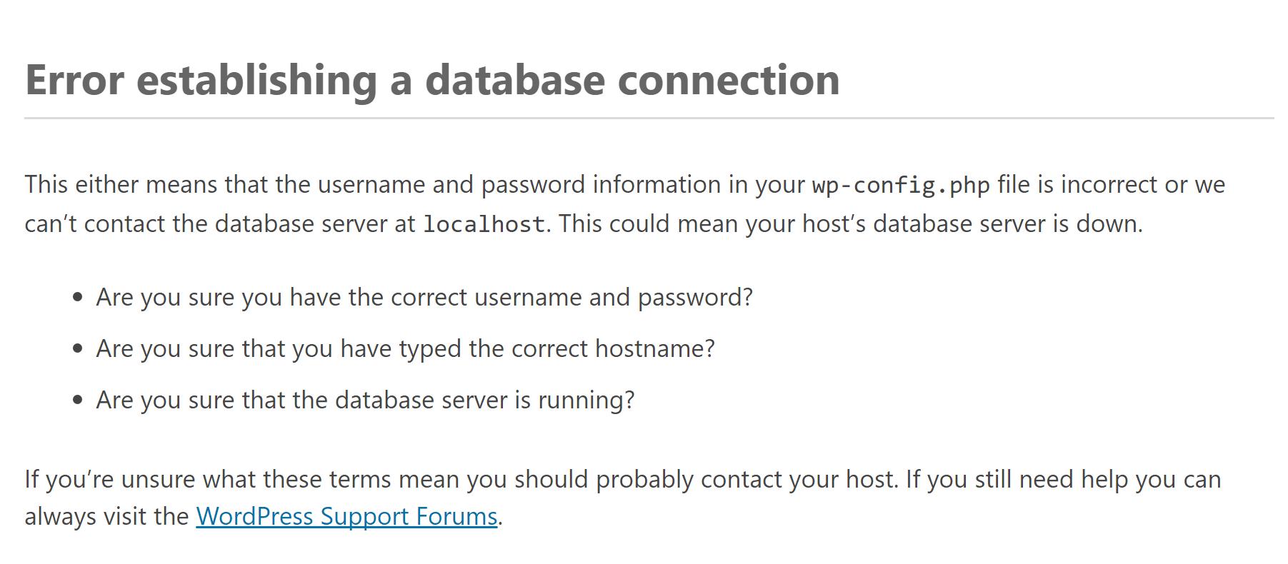 An error estabishing a database connection.