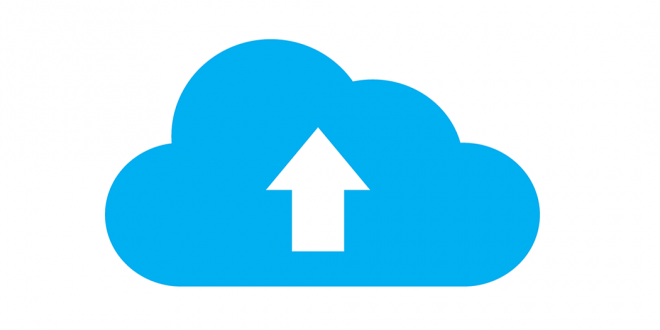 A file uploading symbol.