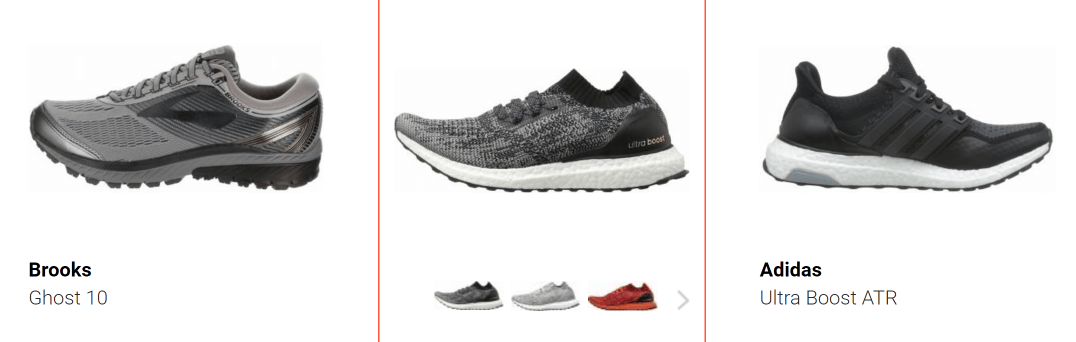 Three types of running shoes.