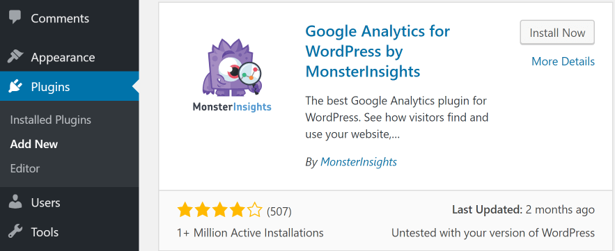 Installing the MonsterInsights plugin.