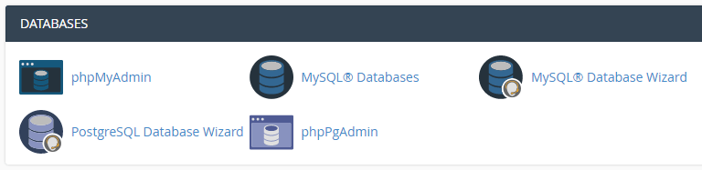 cPanel's database section.