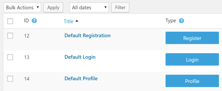 Accessing the default forms for user profiles and registration.