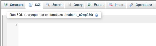 phpMyAdmin's SQL tab.