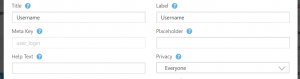 Some of the options you can edit for the username field.