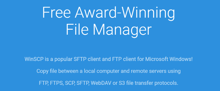The WinSCP homepage.