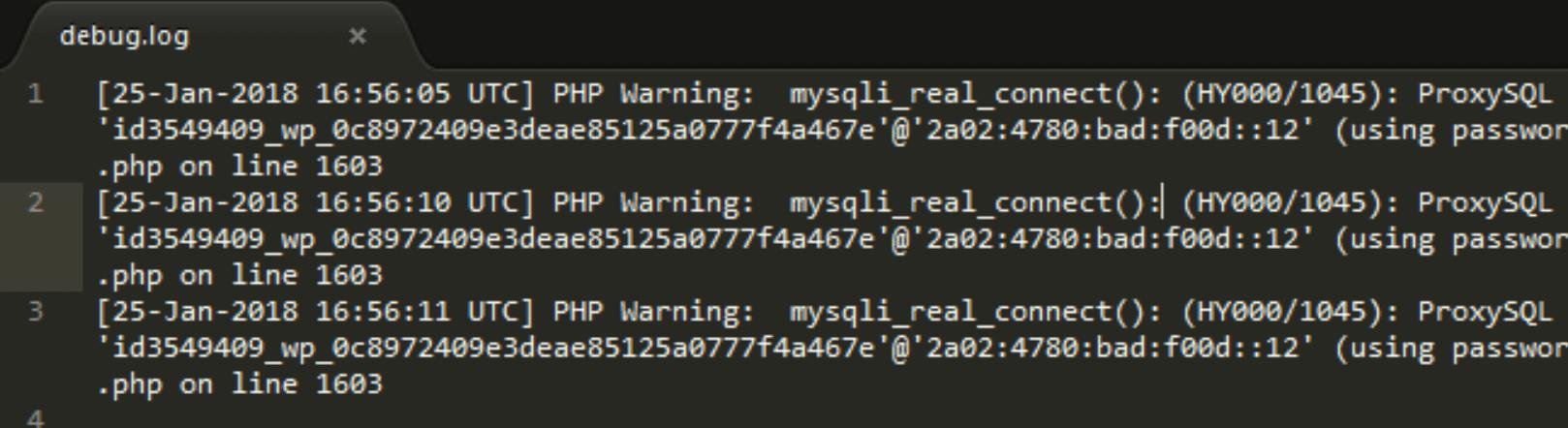An example of a WordPress error log.