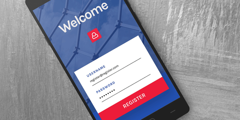 A smartphone displaying a login page.
