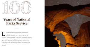 The 100 Years of National Park Services homepage.