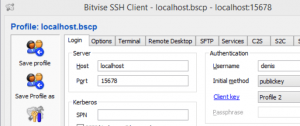 The Bitvise SSH client.