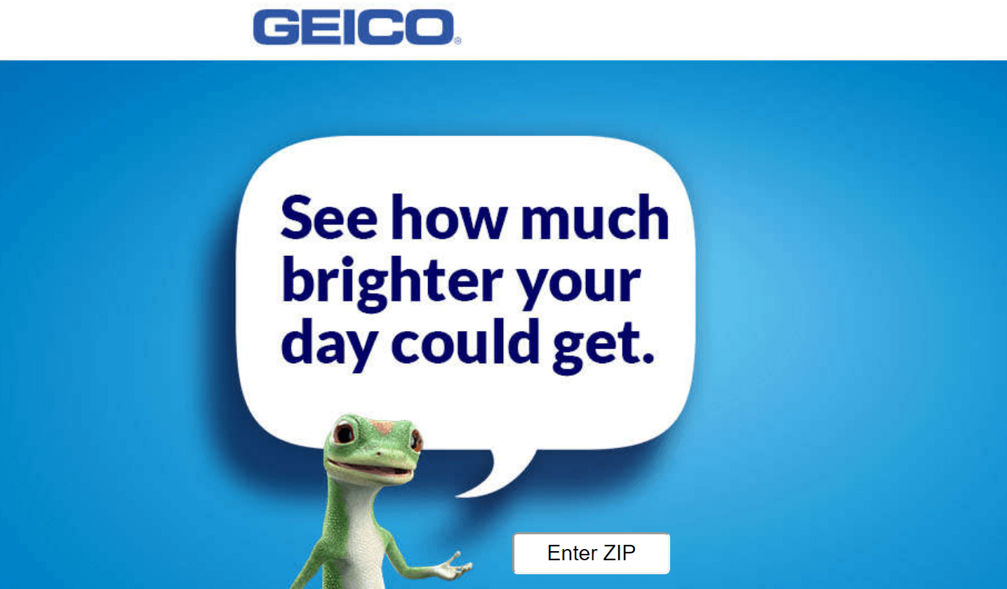 The Geico landing page.